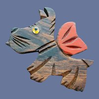 Scottish Terrier Brooch Hand Painted Wood Glass Eye