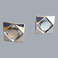 1960s Cufflinks MCM Silver Tone Moonglow Lucite
