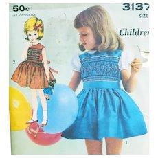 1960s Little Girl's Smocked Dress Size Age 3