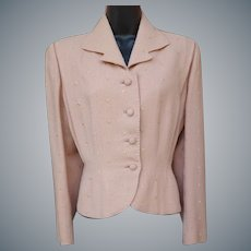 1940s Women's Suit Jacket Pink Embroidered Wool