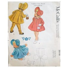 1950s Baby Coat Bonnet Leggings Size 1