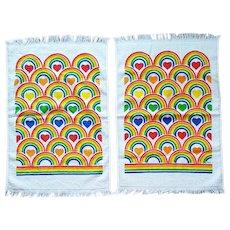 Rainbow and Heart Vintage Kitchen Towels Unused