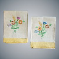 Vintage Irish Linen Towels Hand Embroidery
