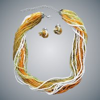 24 Strand Seed Bead Necklace and Earrings