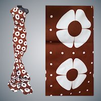 Vintage Sewing Fabric Bold Flowers Marimekko Style