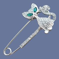 Rhinestone Cat on Big Safety Pin Brooch