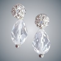 Swarovski Earrings Crystal and Rhinestone Pierced