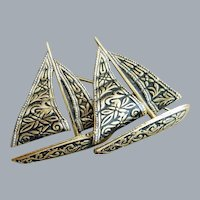 Damascene Sailing Ships Brooch Spain 1950s