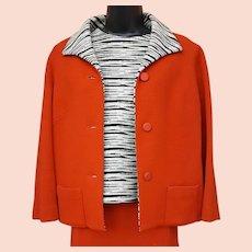1970s  3 Piece Wool Suit Zebra Trim Size Extra Large