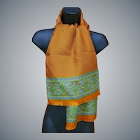 Harvest Orange Silk Scarf and Tissue Wool Italy