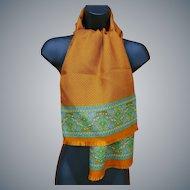 Pumpkin Orange Silk Scarf and Tissue Wool Italy