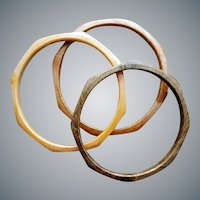 Trio 1970s Bangle Bracelets Polygon Faux Wood