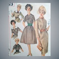 1960s Sewing Pattern Dress and Accessories Bust 38
