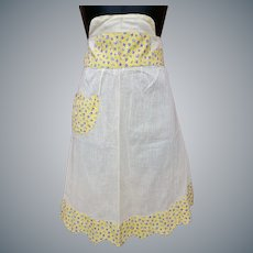 1940s Cotton Half Apron Size Small to Medium