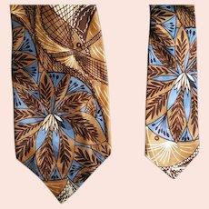 Men's Wide Necktie Late 1940s Gorgeous Geo Print
