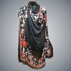 Extra Large Silky Scarf Red Roses Dana Buchman