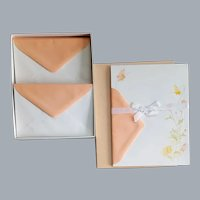 Vintage Stationery 1970s Peach Butterflies MIB