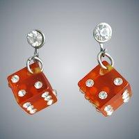 Rhinestone Studded Red Bakelite Dice Earrings
