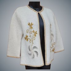 1960s Sweater Rhinestones and Gold Metallic Size Med