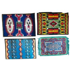Larger Old Tobacco Flannels 3 Have American Indian Rug Motifs