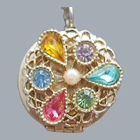 Locket Charm Bracelet with Rhinestones 1960s