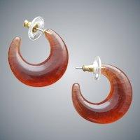 Root Beer / Amber Lucite Pierced Earrings Joan Rivers