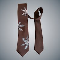 Vintage Necktie Hand Painted Brown Rayon Unworn