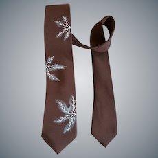 Vintage Necktie Hand Painted Brown Rayon Unworn