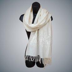 Beautiful Long Lavish Embroidered Shawl Jeweled White