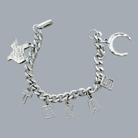 1960s TEXAS Charm Bracelet Silver Tone