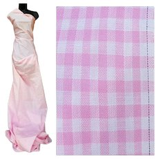 Vintage Cotton Sewing Fabric 6 Yards Pink White Check