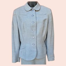 Women's 1940s Suit Size Large Gray Wool