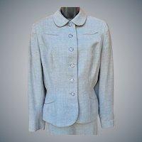 Women's Wool 1940s Suit Size Large Gray Wool Tweed