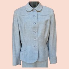 Women's Wool 1940s Suit Size Large Gray Wool Tweed
