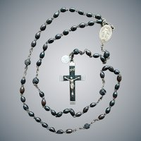 Carved Ebony Wood and Metal Rosary France