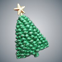 Christmas Tree Brooch Green Glittery Holiday Pin