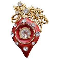 Christmas Brooch Indent Ornament Enamel with Rhinestones