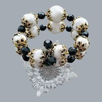 Black And White Memory Wire Bead Bracelet S-M-LG