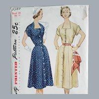 1950s - 1960s Dress Vintage Sewing Pattern Bust 38