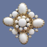 1960s Brooch Gorgeous White and Gold MCM