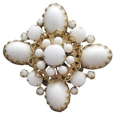 1960s Brooch Winter White Gorgeous Gold MCM