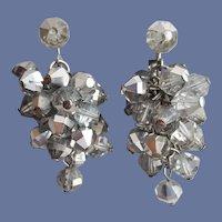 MCM Smoked Crystal Cascade Earrings 1960s