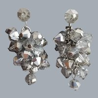 MCM Smoked Crystal Cascade Earrings 1960s