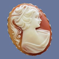 Detailed Faux Cameo Brooch 1970s Beautiful Lady