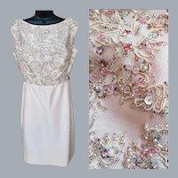 1960s Beaded Jeweled Silk Dress M-L Karen Stark