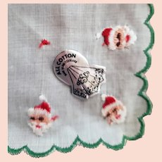 1950s Christmas Santa Claus Handkerchief Switzerland
