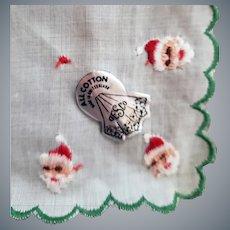 1950s Christmas Santa Claus Handkerchief Switzerland