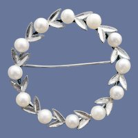 Real Pearl Circlet Brooch Mid Century Modern