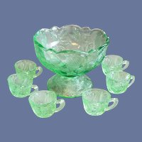 Child's EAPG Toy Punch Bowl 6 Cups Inverted Strawberry
