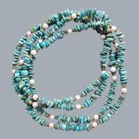 Turquoise, Pearl and Peridot Necklace 58 inches around